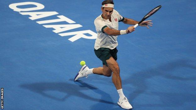 Roger Federer in action at Qatar Open