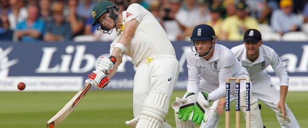 Steve Smith hits a six at Lord's