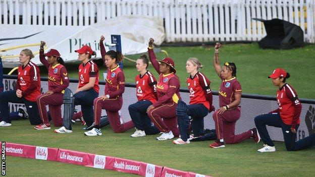 England and West Indies Women take a knee in Derby in support of the Black Lives Matter movement