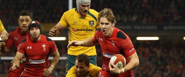 Liam Williams in action against Australia with Wales team-mates Leigh Halfpenny (left foreground) and Taulupe Faletau in support