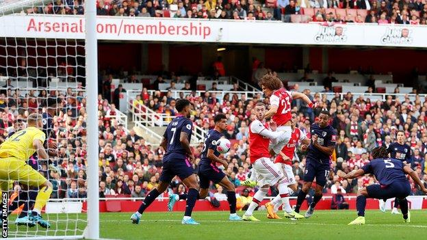 David Luiz scores a header for Arsenal against Bournemouth