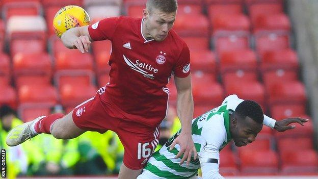 Eight of Aberdeen's players, and Celtic's Boli Bolingoli (right) breached lockdown rules