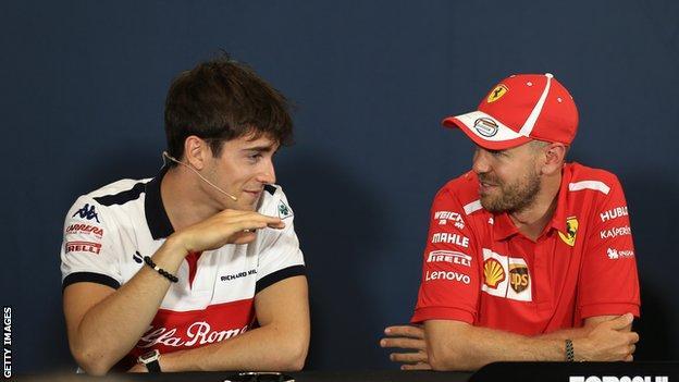 Ferrari's Charles Leclerc and Sebastian Vettel