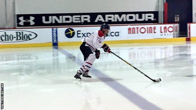 Valtteri Bottas playing ice hockey