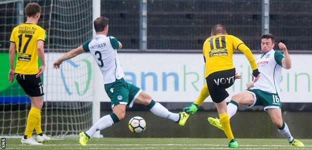 Klaemint Olsen scores for Runavik against Hibs