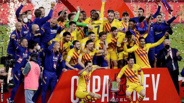 Barcelona celebrate Copa del Rey win