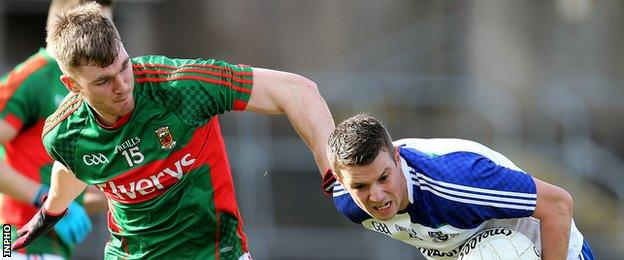 Mayo's Conor O'Shea challenges Monaghan's Ryan Wylie at Clones