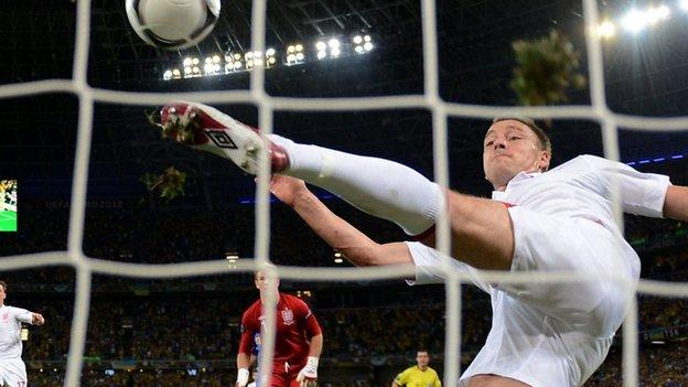 Terry clears off the line at Euro 2012