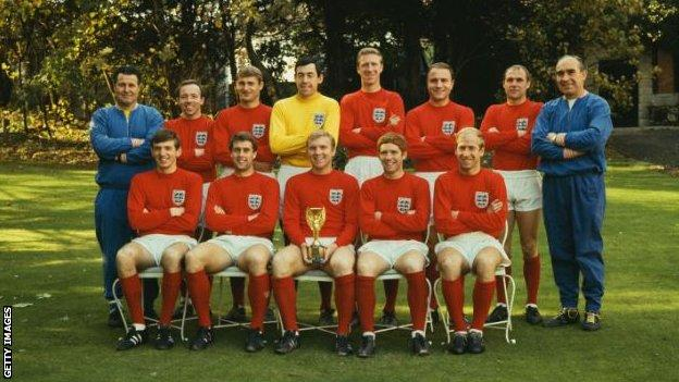 The England team with the World Cup in 1966