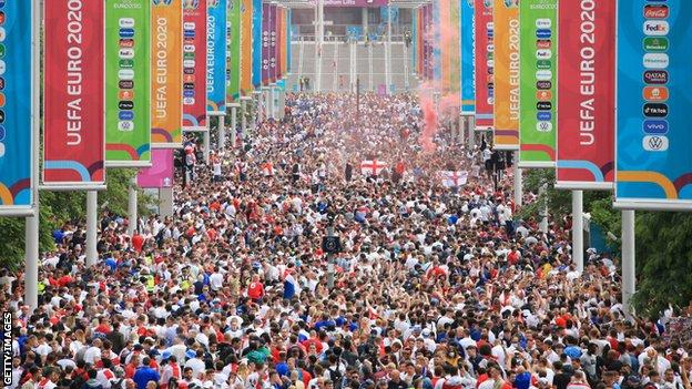 Thousands of fans had packed Wembley Way ahead of the game