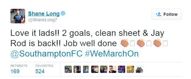 Southampton striker Shane Long tweet