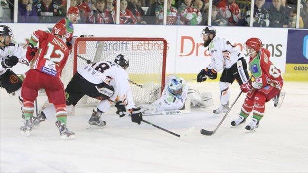 Cardiff Devils score against Sheffield Steelers