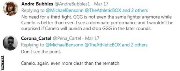 """Twitter users react to the news that Saul 'Canelo' Alvarez could fight Gennady Golovkin for the third time in September, with one user saying he doesn't """"see the point"""" because it would be an easy win for Canelo."""