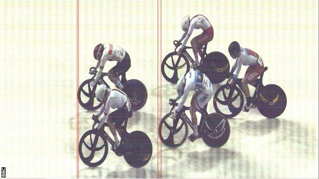 Great Britain's Katy Marchant wins gold in the women's keirin on day two of the Track Cycling World Cup in Glasgow