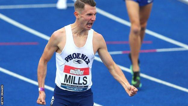 George Mills celebrates