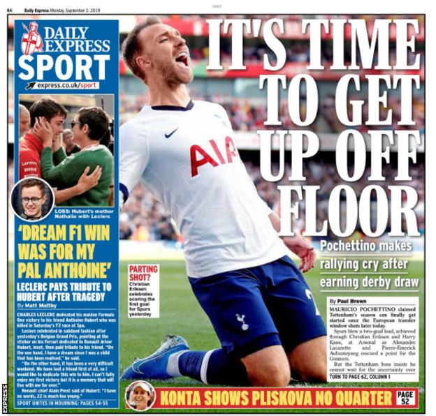 Monday's Express back page