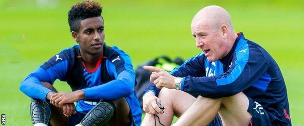 Rangers midfielder Gedion Zelalem with manager Mark Warburton
