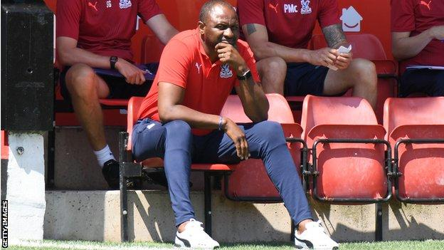 Vieira cut a watchful figure for much of the pre-season game against Walsall