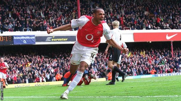 Thierry Henry celebrating against Liverpool