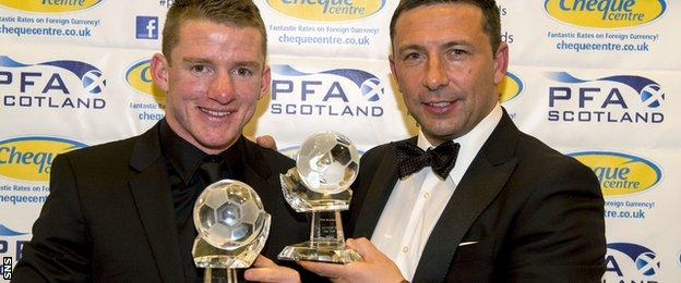 Aberdeen boss Derek McInnes and winger Jonny Hayes pick up the 2013/2014 PFA Scotland Manager of the Year and Goal of the Season awards