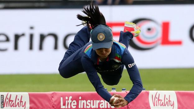 Harleen Deol takes a sensational catch to remove England's Amy Jones