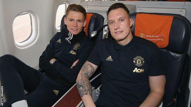 Manchester United players Scott McTominay and Phil Jones travel to a European away fixture