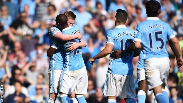 Man City players celebrating