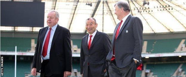Eddie Jones tours Twickenham with RFU chairman Bill Beaumont (left) and chief executive Ian Ritchie (right)