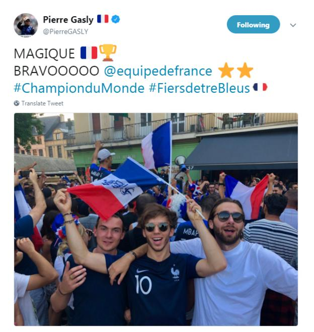 Pierre Gasly celebrates France winning the World Cup