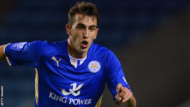 Kieran Kennedy in action for Leicester City Under-21s