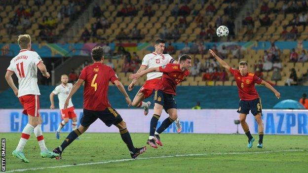 Robert Lewandowski scores for Poland against Spain