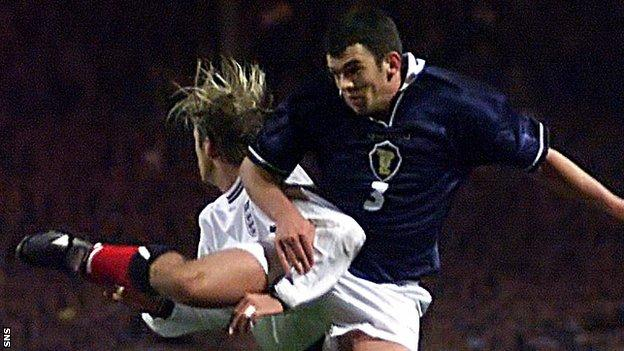 Current St Johnstone manager Callum Davidson in action for Scotland