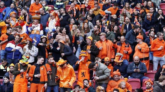 Netherlands fans inside the Cruijff Arena