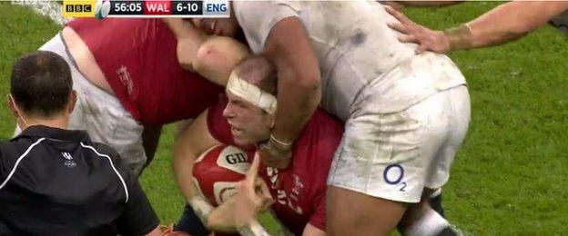 Alun Wyn Jones is quick to point out Sinckler's arm snaked around his neck in contact.