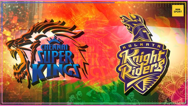 A graphic of the Chennai Super Kings (left) and Kolkata Knight Riders (right) badges on a colourful background