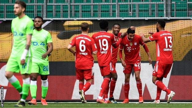 Bayern Munich celebrate Jamal Musiala goal