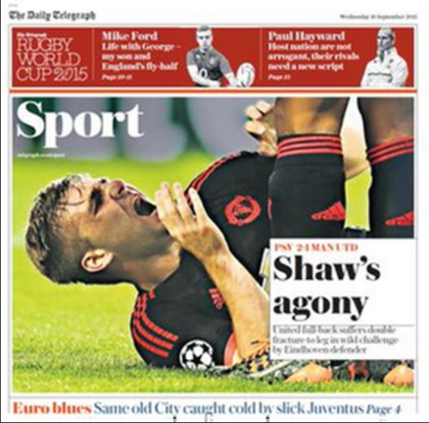 The Daily Telegraph report on Luke Shaw's agony in Eindhoven