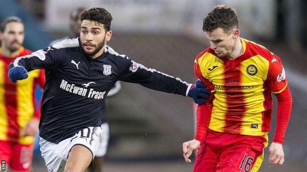 Dundee's Faissal El Bakhtaoui and Partick Thistle's Paul McGinn