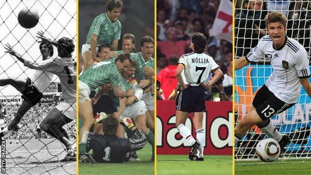 England's nemeses (left to right) - Gerd Muller in 1970, the 1990 German side, Andreas Moller in 1996 and Thomas Muller in 2010