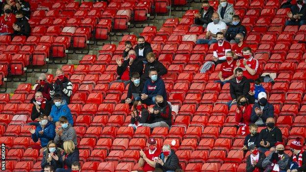 300 Aberdeen supporters attended a Premiership match at Pittodrie in September