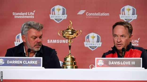 Europe captain Darren Clarke (left) and USA skipper Davis Love