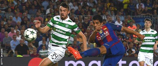 Luis Suarez volleys home Barca's sixth goal as Eoghan O'Connell