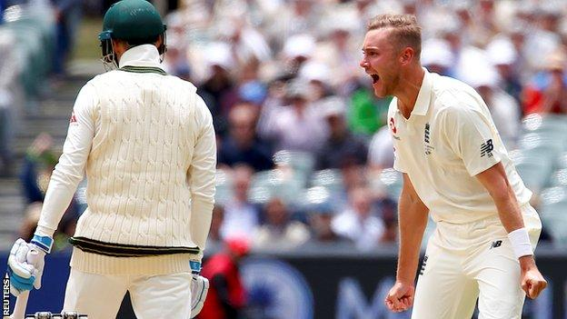 Stuart Broad gives Peter Handscomb a send-off early on day two