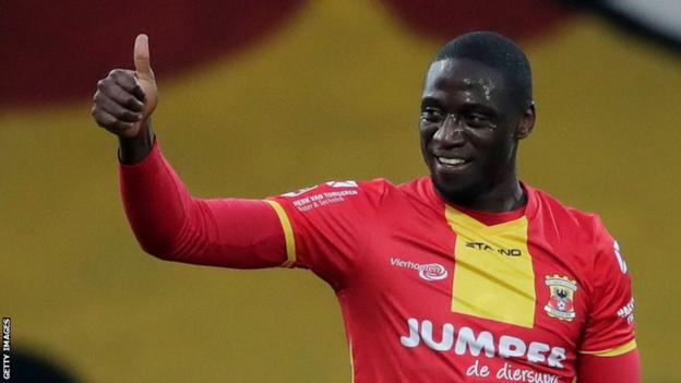 Zambian striker Jacob Mulenga celebrates a goal for his Dutch club Go Ahead Eagles