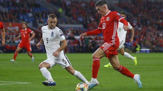 Harry Wilson takes on Azerbaijan defence