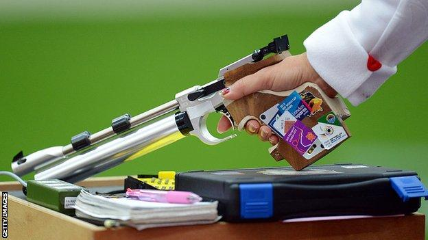 An Olympic-style air pistol