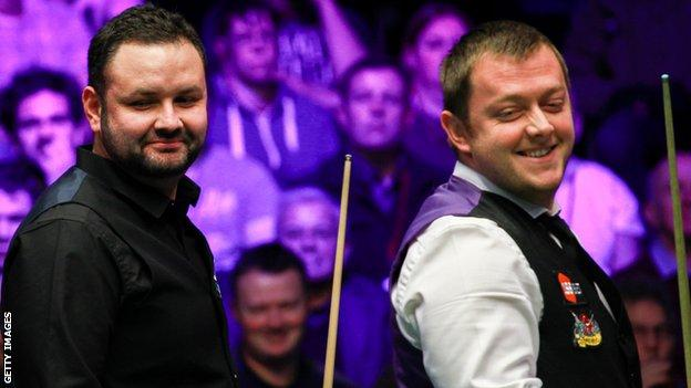 Stephen Maguire had most to smile about after beating his friend Mark Allen in Milton Keynes