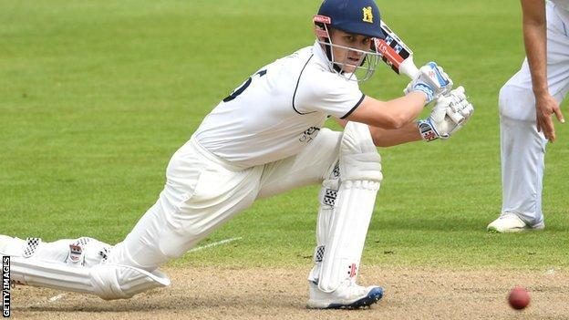 Sam Hain become the first Warwickshire player since Ian Bell in 2004 to score a century in both innings of an away match