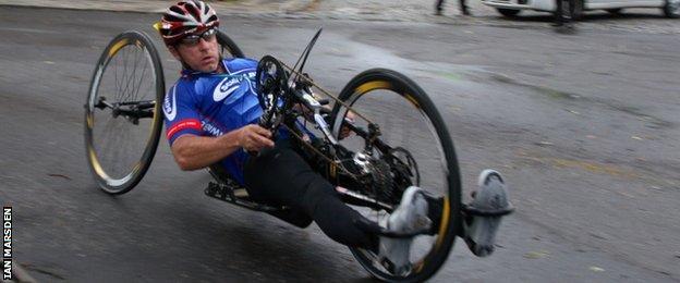 Ian Marsden in action as a handcyclist
