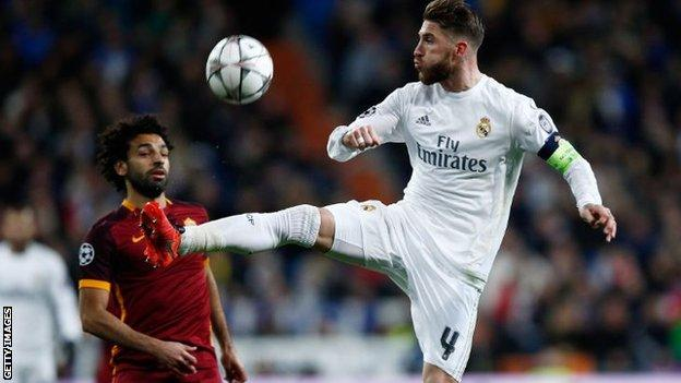 Mohamed Salah (left) at former club Roma and Real defender Sergio Ramos